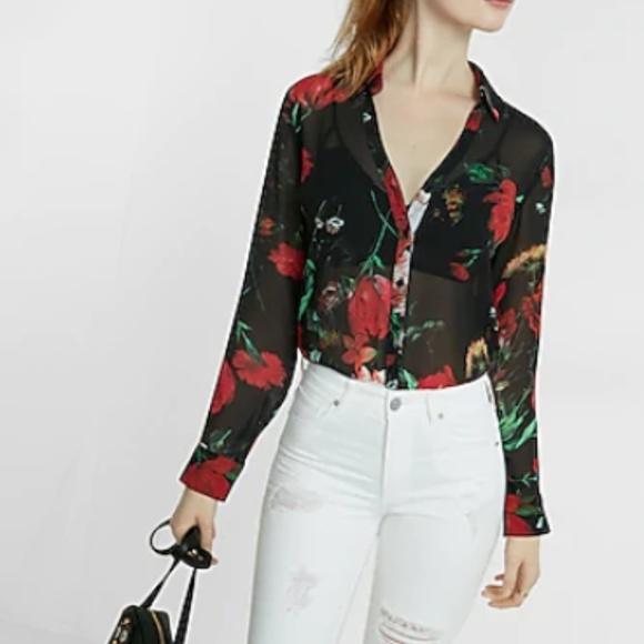 Express Tops - Slim Fit Sheer Floral No Pocket Portofino Shirt